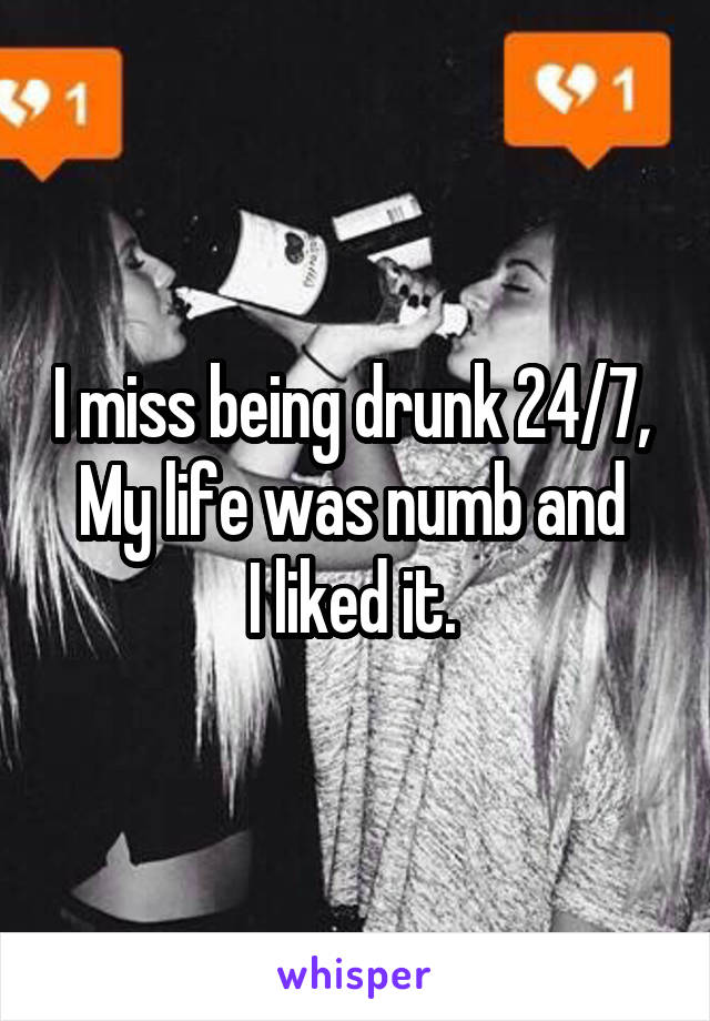 I miss being drunk 24/7,  My life was numb and  I liked it.