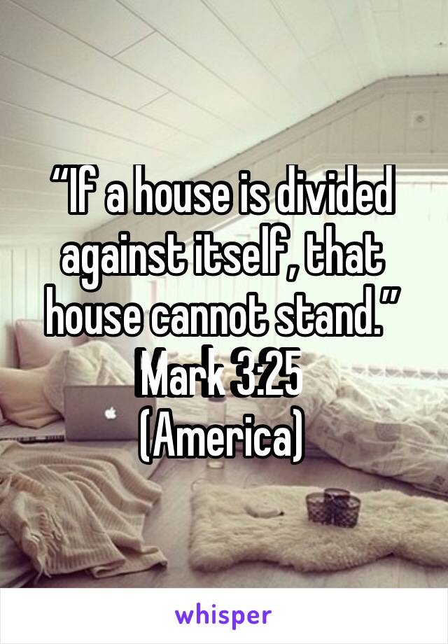"""If a house is divided against itself, that house cannot stand."" ‭‭Mark‬ ‭3:25‬ ‭ (America)"
