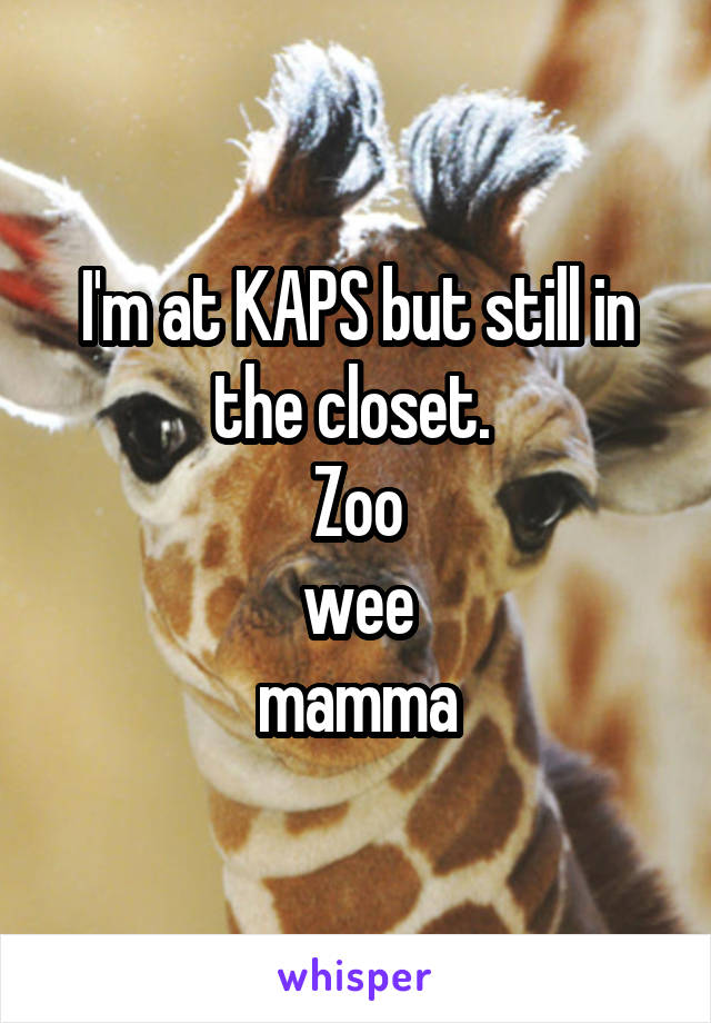 I'm at KAPS but still in the closet.  Zoo wee mamma