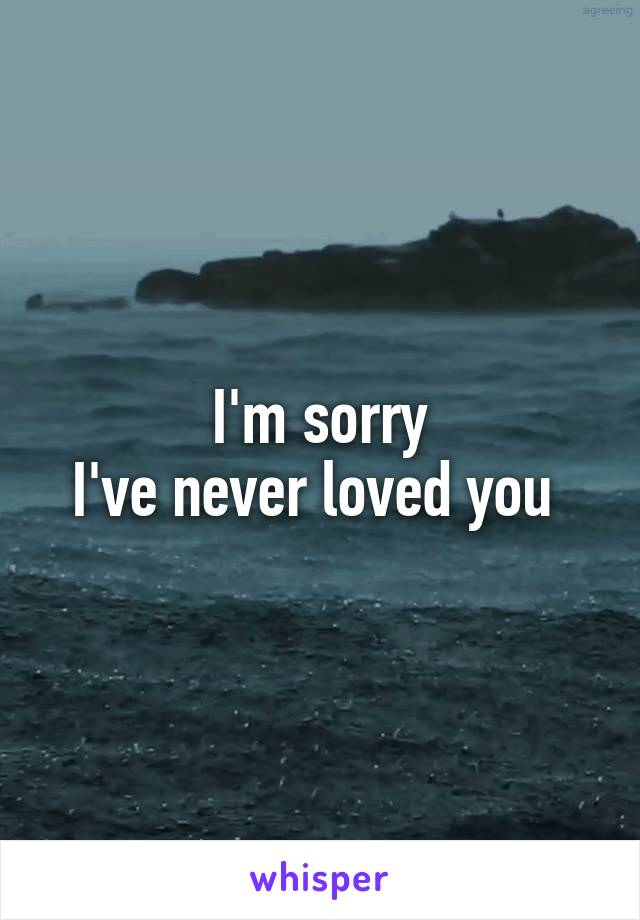 I'm sorry I've never loved you