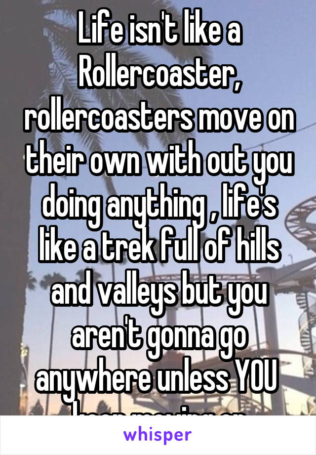 Life isn't like a Rollercoaster, rollercoasters move on their own with out you doing anything , life's like a trek full of hills and valleys but you aren't gonna go anywhere unless YOU  keep moving on