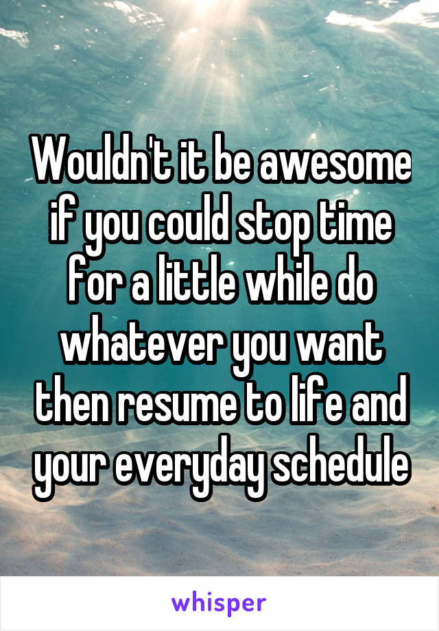 Wouldn't it be awesome if you could stop time for a little while do whatever you want then resume to life and your everyday schedule