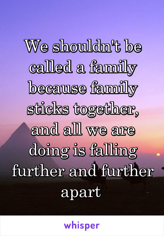 We shouldn't be called a family because family sticks together, and all we are doing is falling further and further apart