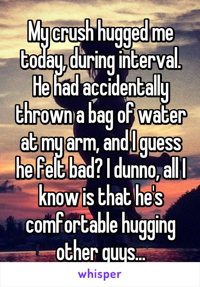 My crush hugged me today, during interval. He had accidentally thrown a bag of water at my arm, and I guess he felt bad? I dunno, all I know is that he's comfortable hugging other guys...