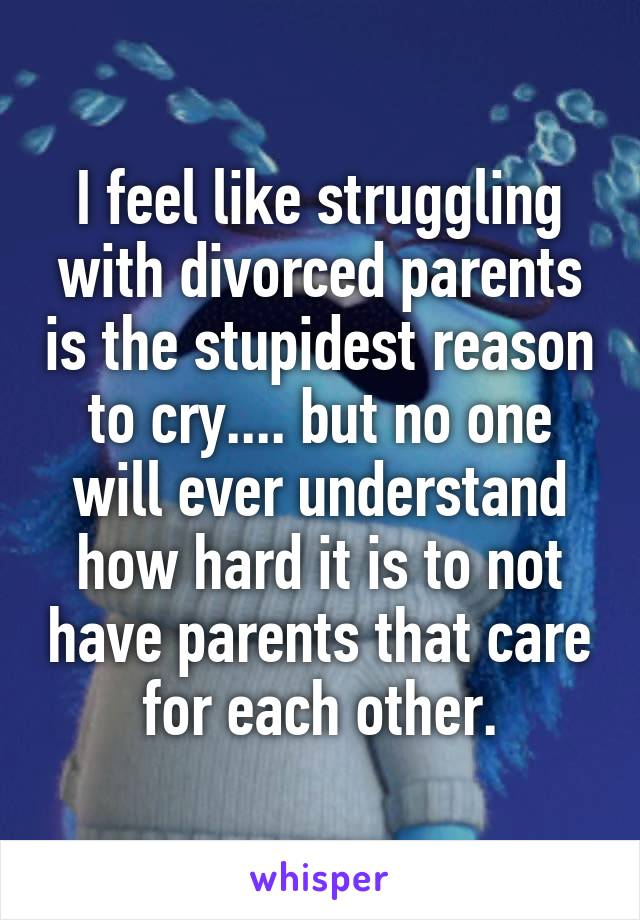 I feel like struggling with divorced parents is the stupidest reason to cry.... but no one will ever understand how hard it is to not have parents that care for each other.