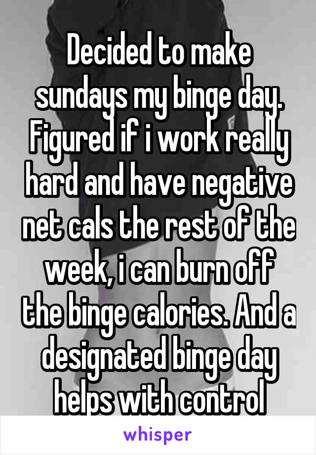 Decided to make sundays my binge day. Figured if i work really hard and have negative net cals the rest of the week, i can burn off the binge calories. And a designated binge day helps with control