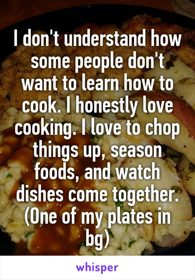I don't understand how some people don't want to learn how to cook. I honestly love cooking. I love to chop things up, season foods, and watch dishes come together. (One of my plates in bg)