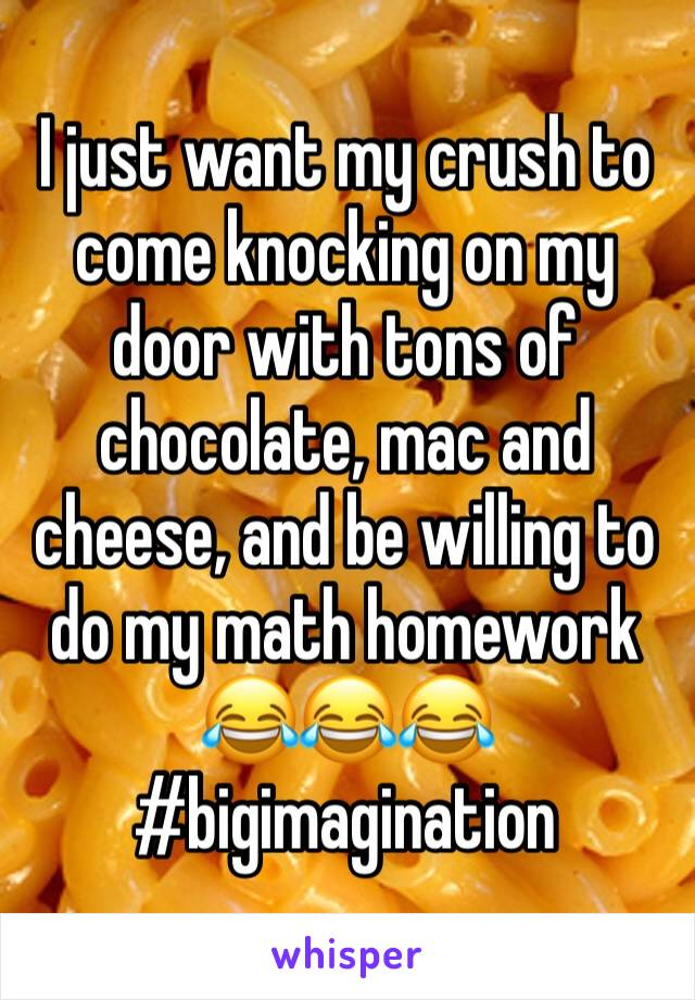 I just want my crush to come knocking on my door with tons of chocolate, mac and cheese, and be willing to do my math homework 😂😂😂 #bigimagination