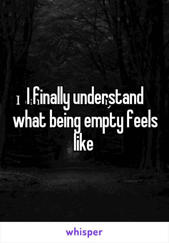 I finally understand what being empty feels like
