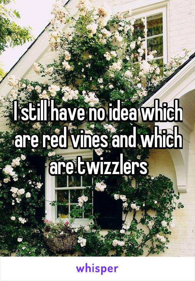 I still have no idea which are red vines and which are twizzlers
