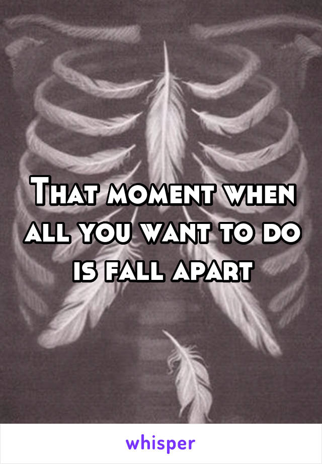 That moment when all you want to do is fall apart