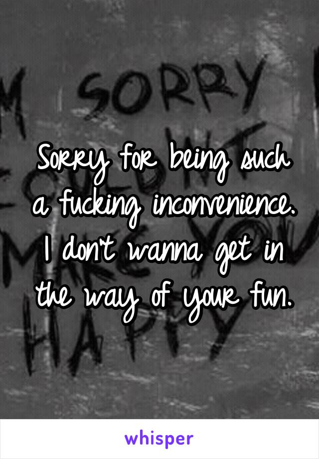 Sorry for being such a fucking inconvenience. I don't wanna get in the way of your fun.