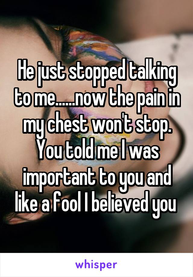 He just stopped talking to me......now the pain in my chest won't stop. You told me I was important to you and like a fool I believed you