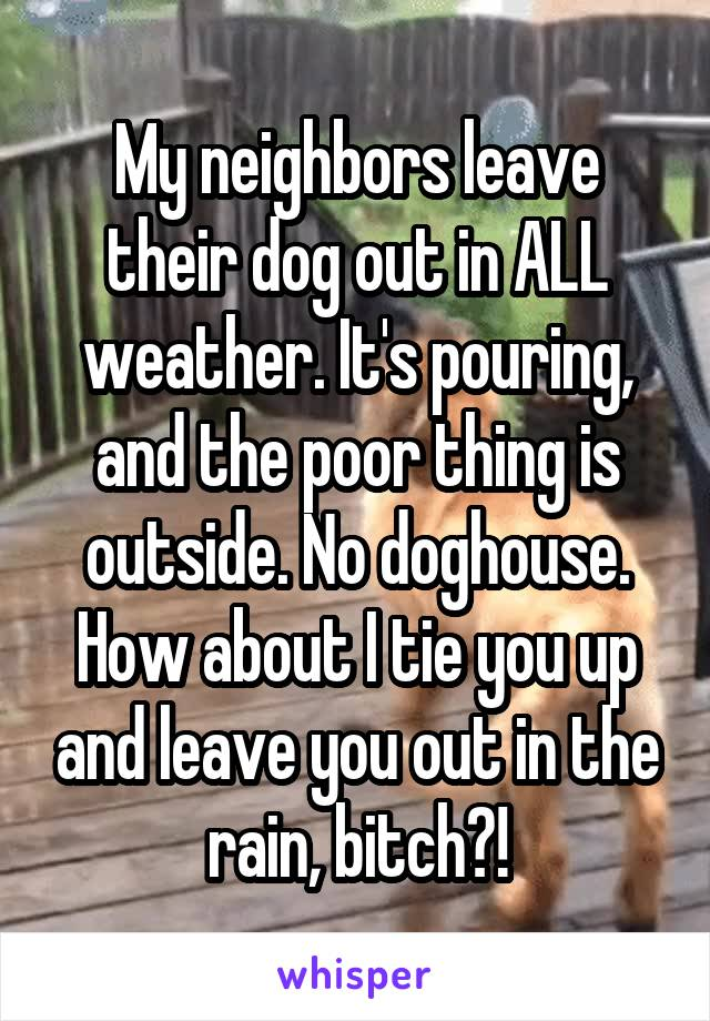 My neighbors leave their dog out in ALL weather. It's pouring, and the poor thing is outside. No doghouse. How about I tie you up and leave you out in the rain, bitch?!