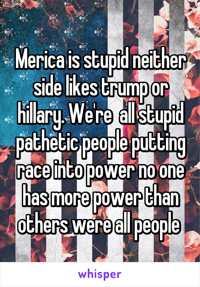 Merica is stupid neither side likes trump or hillary. We're  all stupid pathetic people putting race into power no one has more power than others were all people