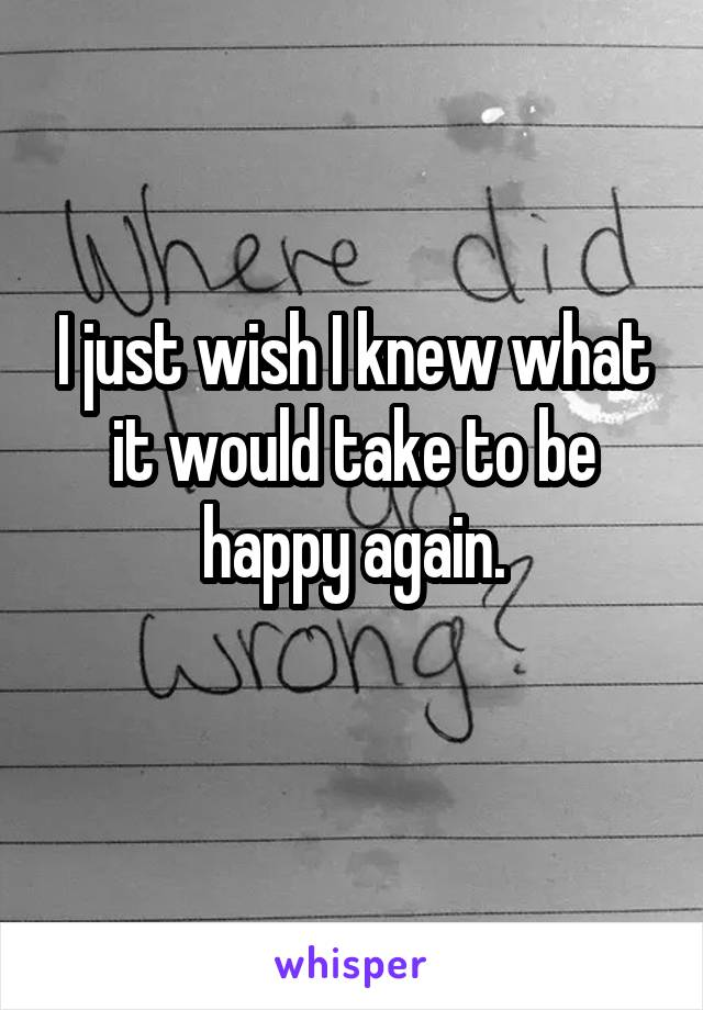 I just wish I knew what it would take to be happy again.