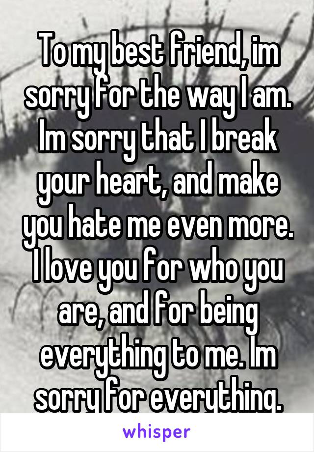 To my best friend, im sorry for the way I am. Im sorry that I break your heart, and make you hate me even more. I love you for who you are, and for being everything to me. Im sorry for everything.