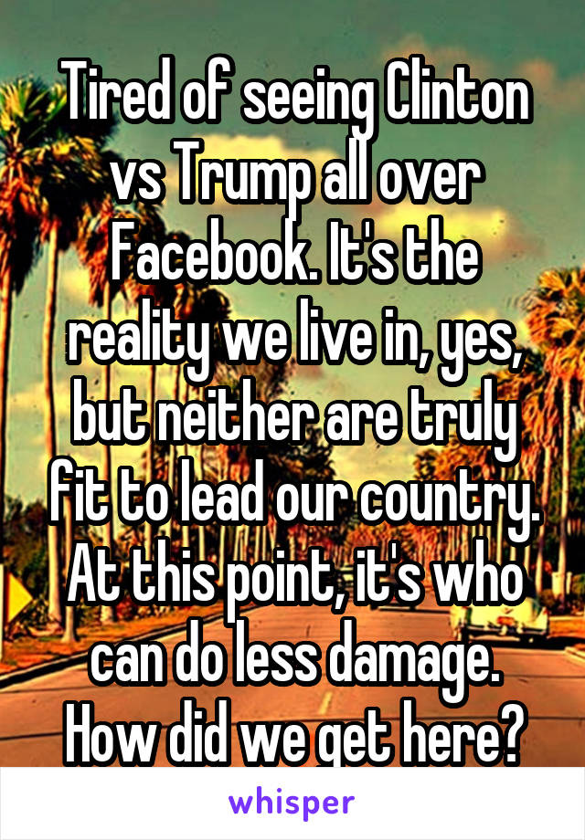 Tired of seeing Clinton vs Trump all over Facebook. It's the reality we live in, yes, but neither are truly fit to lead our country. At this point, it's who can do less damage. How did we get here?