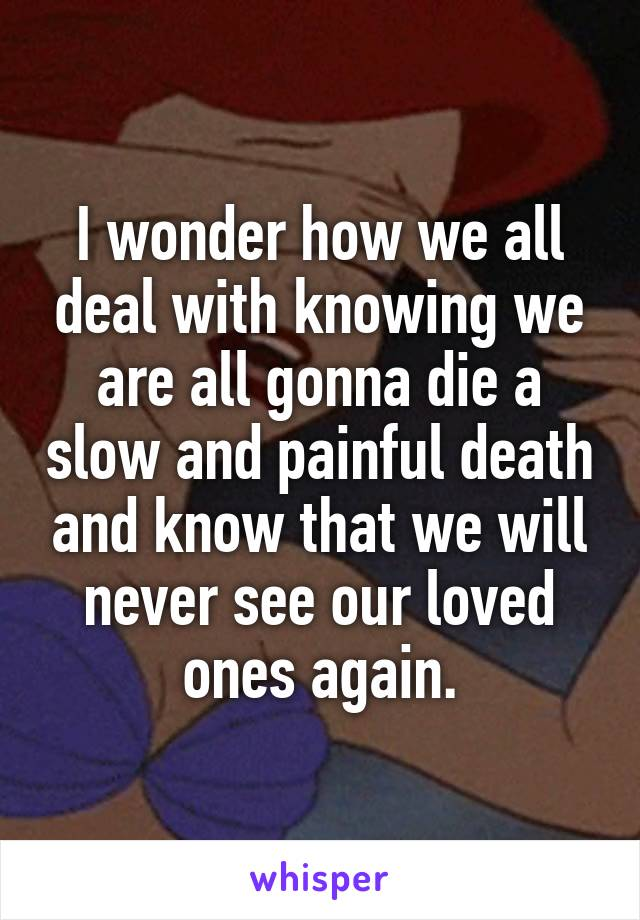 I wonder how we all deal with knowing we are all gonna die a slow and painful death and know that we will never see our loved ones again.