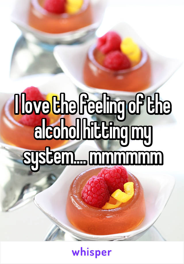 I love the feeling of the alcohol hitting my system.... mmmmmm