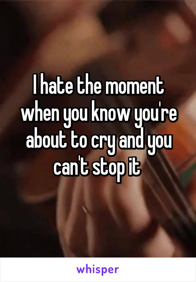 I hate the moment when you know you're about to cry and you can't stop it
