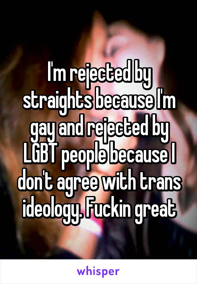 I'm rejected by straights because I'm gay and rejected by LGBT people because I don't agree with trans ideology. Fuckin great