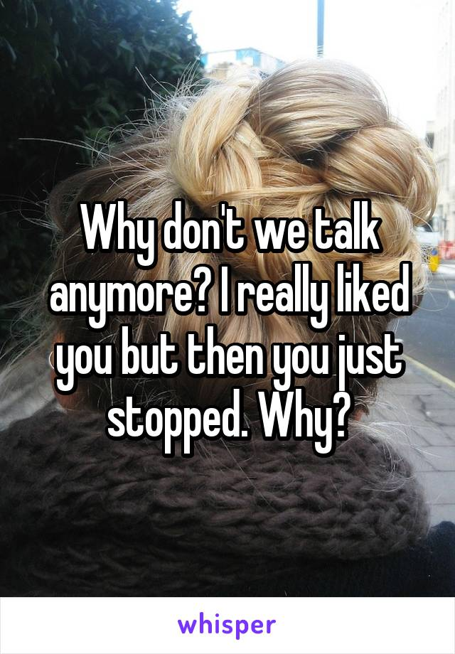 Why don't we talk anymore? I really liked you but then you just stopped. Why?
