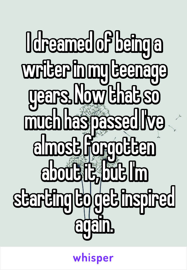 I dreamed of being a writer in my teenage years. Now that so much has passed I've almost forgotten about it, but I'm starting to get inspired again.
