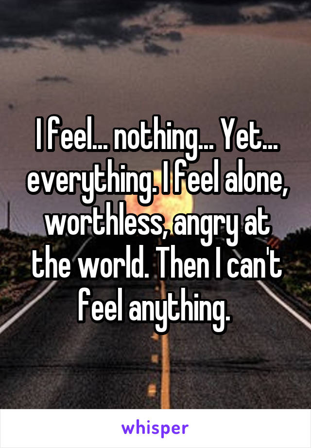 I feel... nothing... Yet... everything. I feel alone, worthless, angry at the world. Then I can't feel anything.