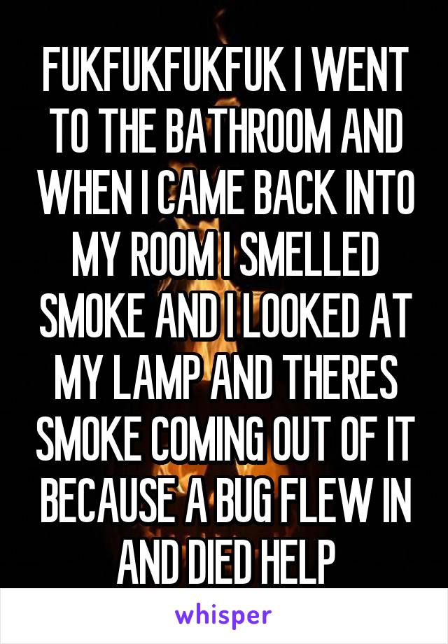 FUKFUKFUKFUK I WENT TO THE BATHROOM AND WHEN I CAME BACK INTO MY ROOM I SMELLED SMOKE AND I LOOKED AT MY LAMP AND THERES SMOKE COMING OUT OF IT BECAUSE A BUG FLEW IN AND DIED HELP