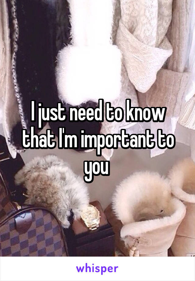 I just need to know that I'm important to you