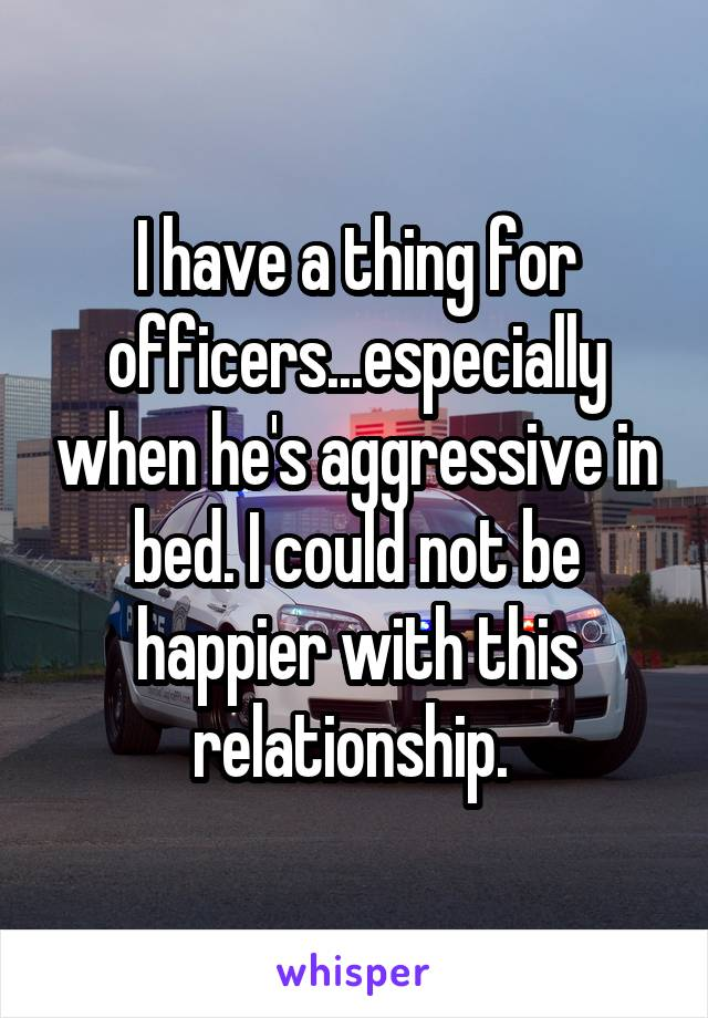 I have a thing for officers...especially when he's aggressive in bed. I could not be happier with this relationship.