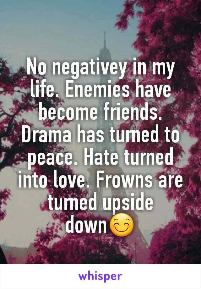 No negativey in my life. Enemies have become friends. Drama has turned to peace. Hate turned into love. Frowns are turned upside down😊