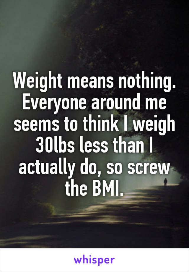 Weight means nothing. Everyone around me seems to think I weigh 30lbs less than I actually do, so screw the BMI.