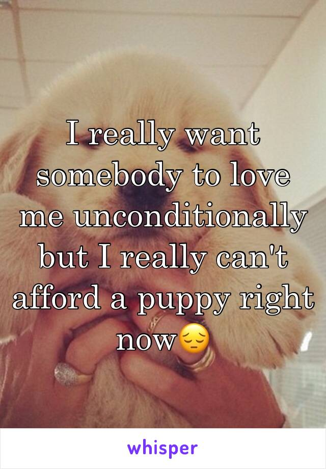 I really want somebody to love me unconditionally but I really can't afford a puppy right now😔
