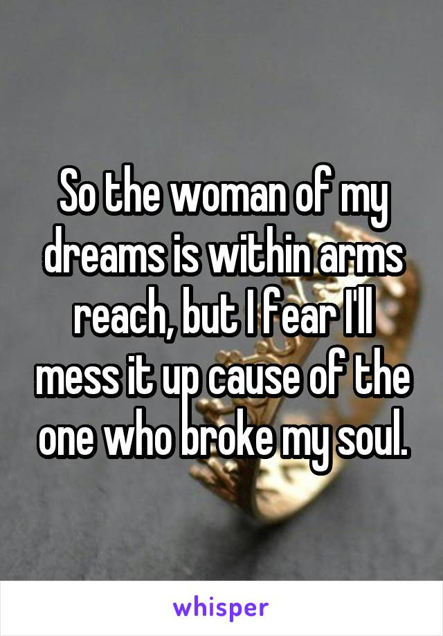 So the woman of my dreams is within arms reach, but I fear I'll mess it up cause of the one who broke my soul.