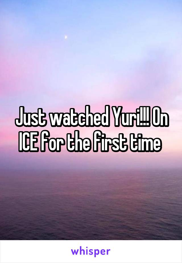 Just watched Yuri!!! On ICE for the first time