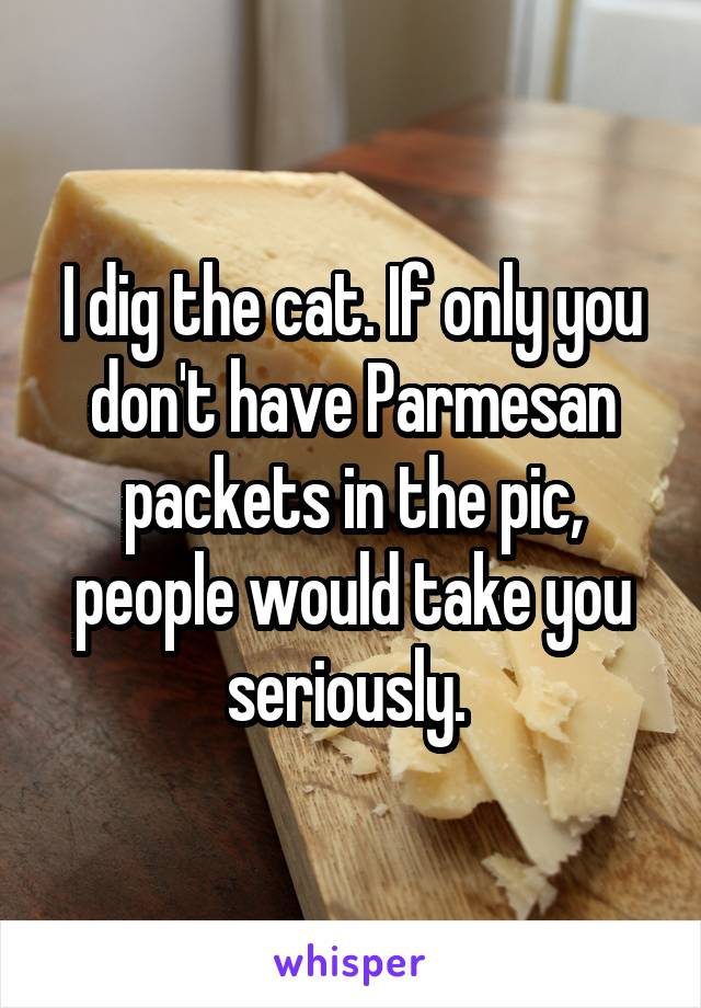 I dig the cat. If only you don't have Parmesan packets in the pic, people would take you seriously.