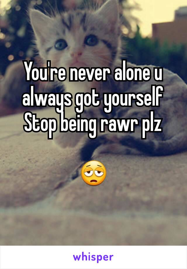 You're never alone u always got yourself Stop being rawr plz  😩