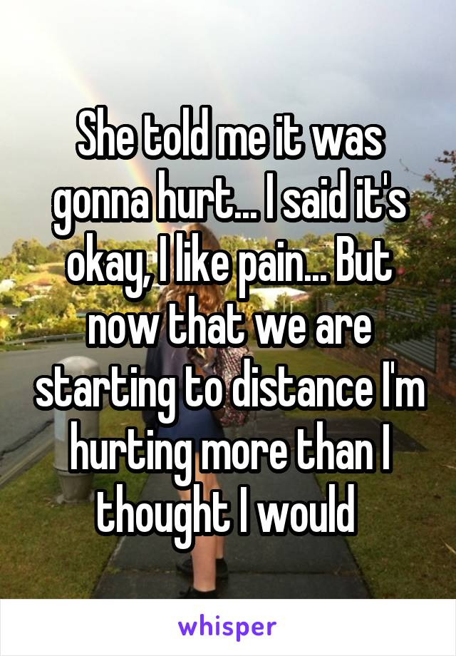 She told me it was gonna hurt... I said it's okay, I like pain... But now that we are starting to distance I'm hurting more than I thought I would
