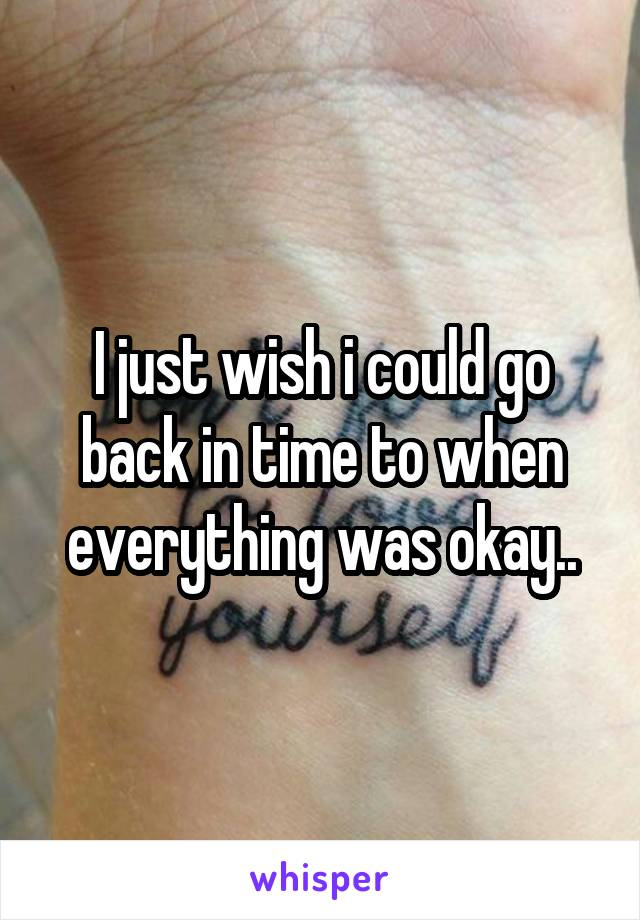 I just wish i could go back in time to when everything was okay..
