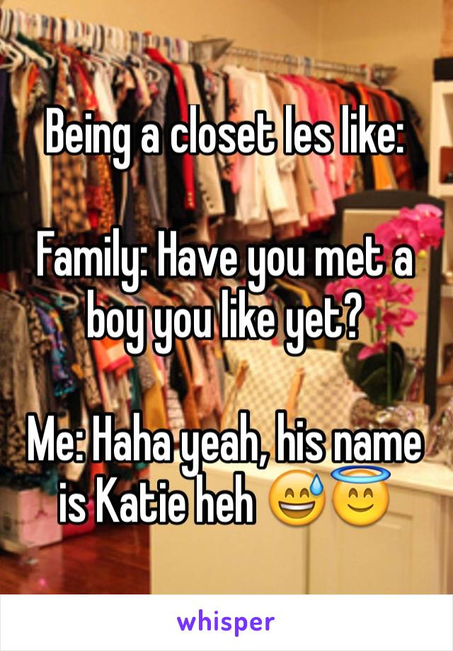 Being a closet les like:  Family: Have you met a boy you like yet?  Me: Haha yeah, his name is Katie heh 😅😇