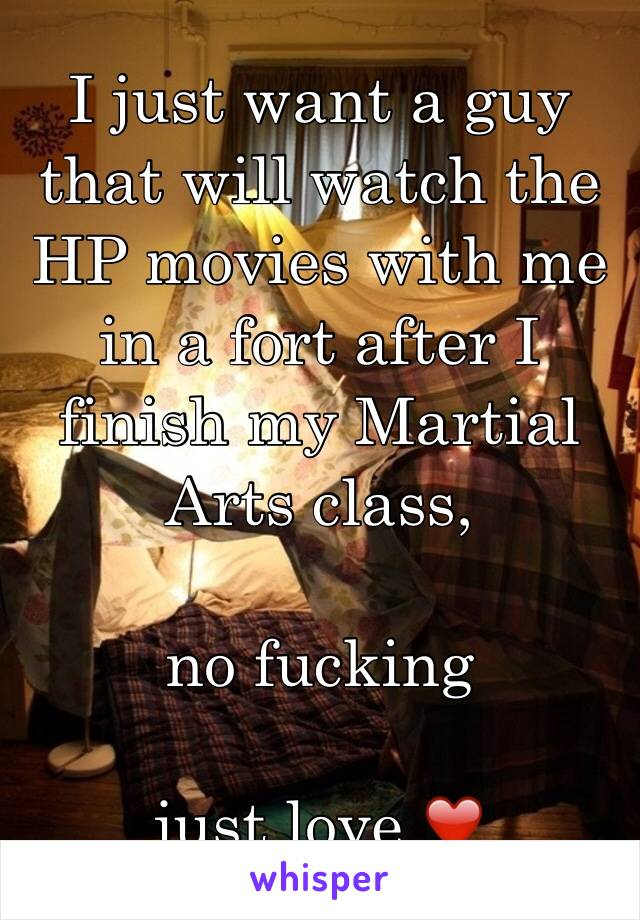 I just want a guy that will watch the HP movies with me in a fort after I finish my Martial Arts class,  no fucking  just love ❤️