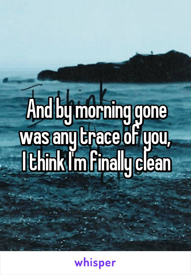 And by morning gone was any trace of you,  I think I'm finally clean