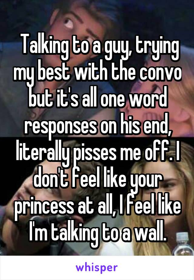 Talking to a guy, trying my best with the convo but it's all one word responses on his end, literally pisses me off. I don't feel like your princess at all, I feel like I'm talking to a wall.