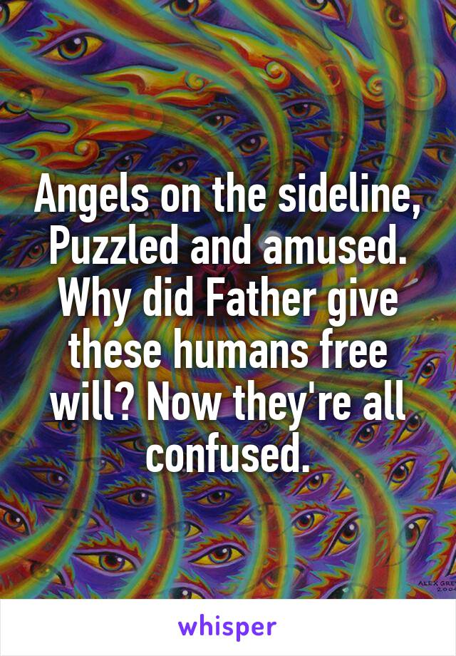 Angels on the sideline, Puzzled and amused. Why did Father give these humans free will? Now they're all confused.