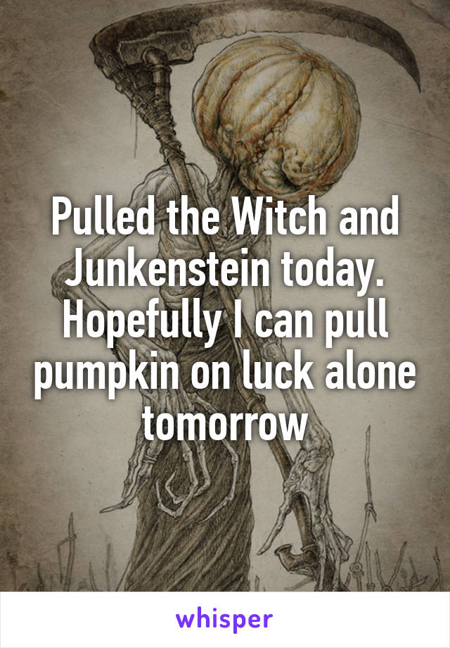 Pulled the Witch and Junkenstein today. Hopefully I can pull pumpkin on luck alone tomorrow