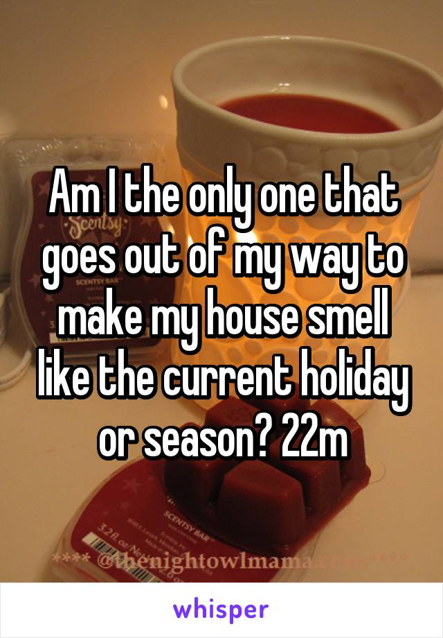 Am I the only one that goes out of my way to make my house smell like the current holiday or season? 22m