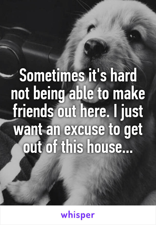 Sometimes it's hard not being able to make friends out here. I just want an excuse to get out of this house...