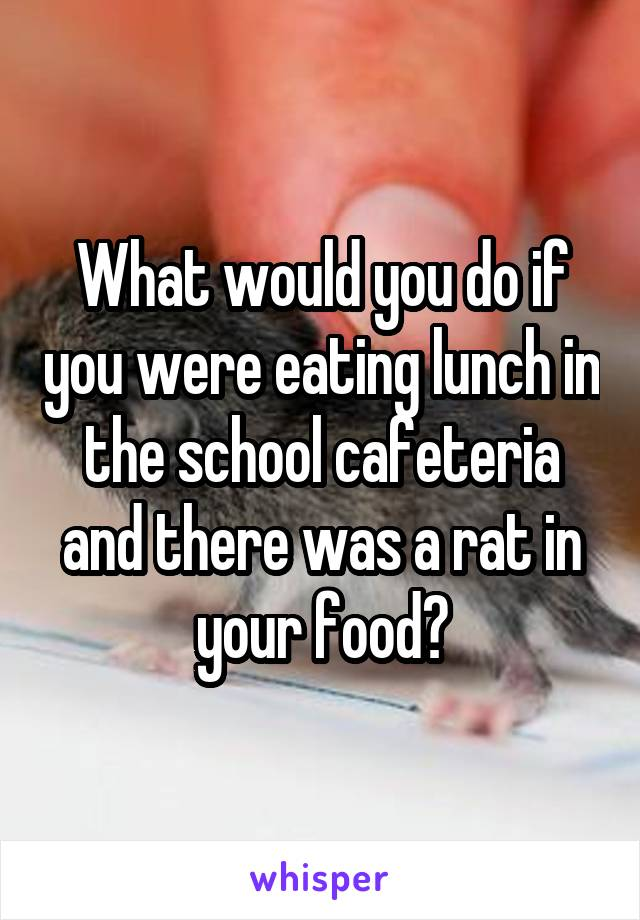 What would you do if you were eating lunch in the school cafeteria and there was a rat in your food?
